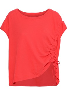Current/elliott Woman The Ruched Muscle Cotton-jersey T-shirt Papaya