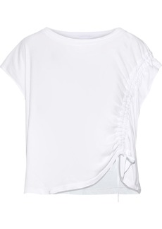 Current/elliott Woman The Ruched Muscle Cotton-jersey T-shirt White