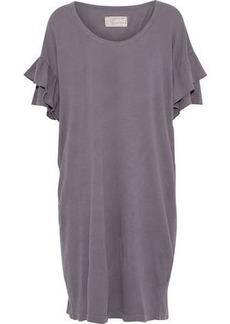 Current/elliott Woman The Ruffle Roadie Cotton-jersey Mini Dress Grape