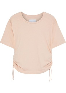 Current/elliott Woman The Sand Trap Ruched Cotton-jersey T-shirt Pastel Pink