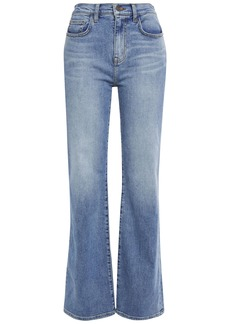 Current/elliott Woman The Scooped Jarvis Faded Mid-rise Flared Jeans Light Denim