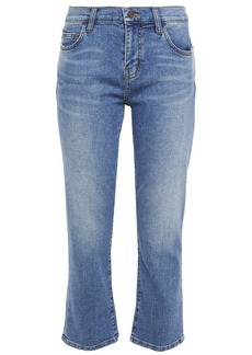 Current/elliott Woman The Scooped Ruby Cropped Mid-rise Straight-leg Jeans Mid Denim