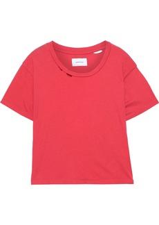 Current/elliott Woman The Short Cg Distressed Cotton-jersey T-shirt Papaya