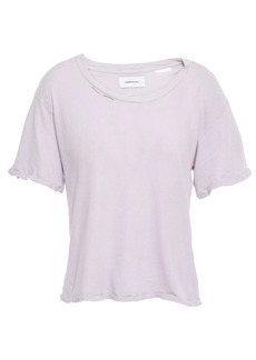 Current/elliott Woman The Short Cg Distressed Cotton-jersey T-shirt Lilac