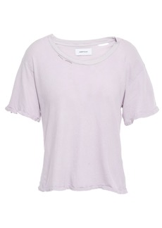 Current/elliott Woman The Short Cg Distressed Cotton-jersey T-shirt Lilac