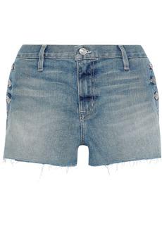 Current/elliott Woman The Skiff Button-detailed Distressed Denim Shorts Mid Denim
