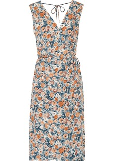 Current/elliott Woman The Sleeveless Wrap-effect Floral-print Crepe Dress Pastel Orange