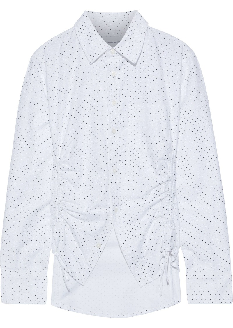 Current/elliott Woman The South Canon Ruched Polka-dot Cotton-blend Shirt White