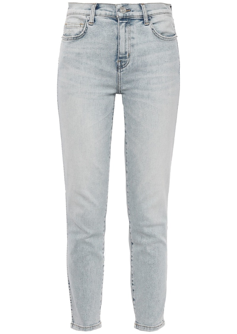 Current/elliott Woman The Southside Distressed High-rise Skinny Jeans Light Denim