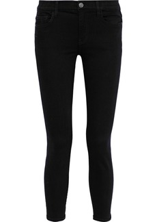Current/elliott Woman The Stiletto Ankle Low-rise Skinny Jeans Black