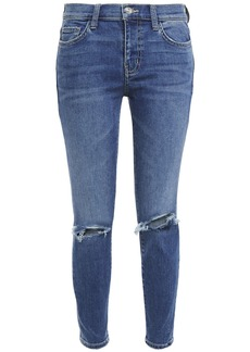 Current/elliott Woman The Stiletto Cropped Distressed Mid-rise Skinny Jeans Mid Denim