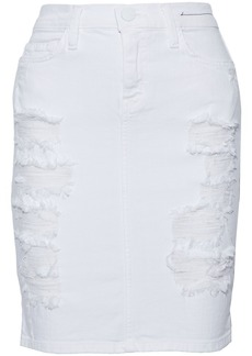 Current/elliott Woman The Stiletto Distressed Denim Mini Skirt White