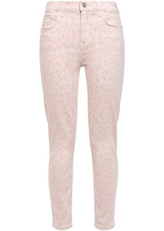 Current/elliott Woman The Stiletto Leopard-print Mid-rise Skinny Jeans Baby Pink