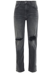 Current/elliott Woman The Stovepipe Distressed High-rise Slim-leg Jeans Dark Gray
