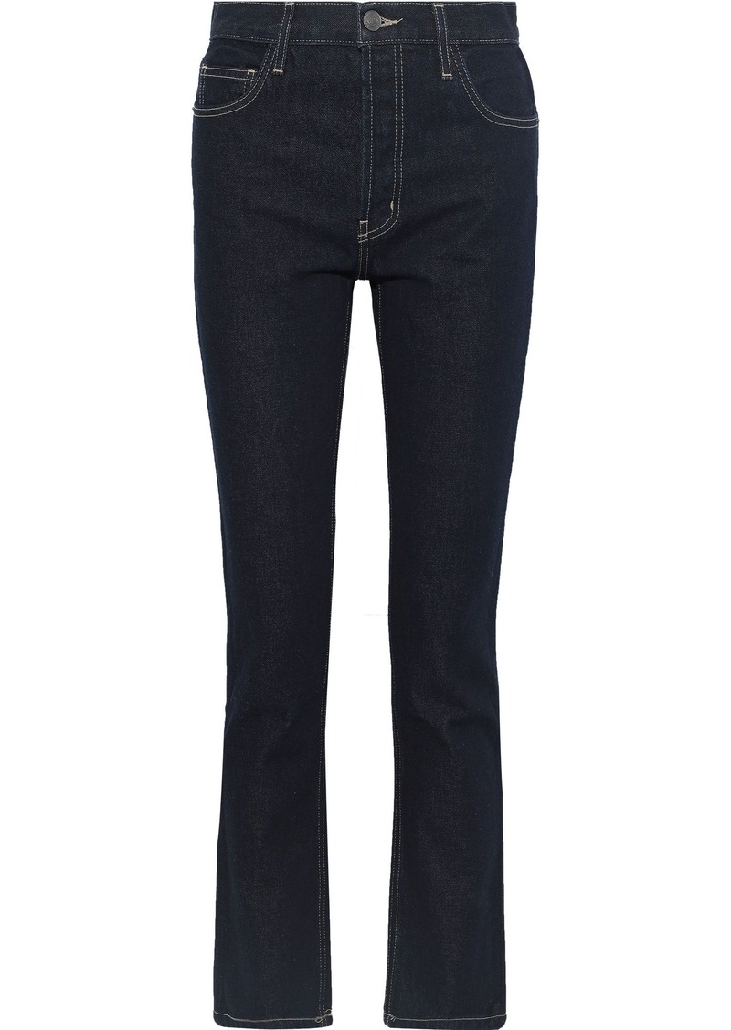 Current/elliott Woman The Stovepipe Mid-rise Straight-leg Jeans Dark Denim