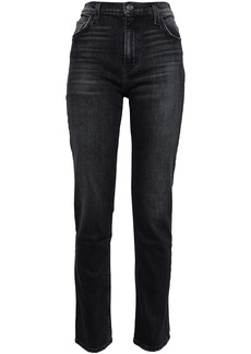 Current/elliott Woman The Stovepipe Torpedo High-rise Slim-leg Jeans Charcoal