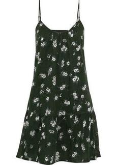 Current/elliott Woman The Strappy Floral-print Cotton-poplin Mini Dress Forest Green