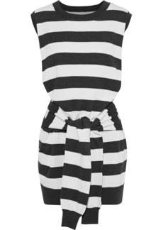 Current/elliott Woman The Suns Out Tie-front Striped Cotton And Cashmere-blend Mini Dress Black
