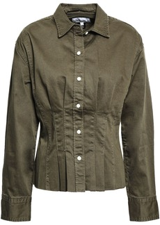 Current/elliott Woman The Tella Pleated Cotton-blend Twill Jacket Army Green