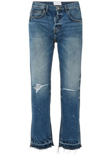 Current/elliott Woman The Throwback Original Distressed High-rise Straight-leg Jeans Mid Denim