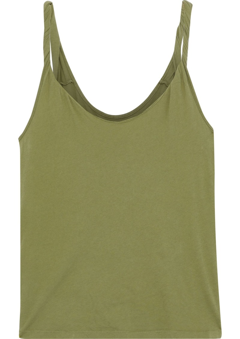 Current/elliott Woman The Twisted Cotton-jersey Tank Leaf Green