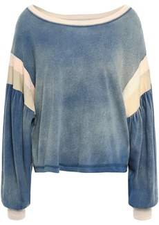 Current/elliott Woman The Two Step Faded Color-block Cotton-jersey Top Blue