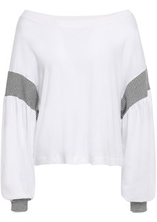 Current/elliott Woman The Two Step Color-block Cotton-jersey Top White