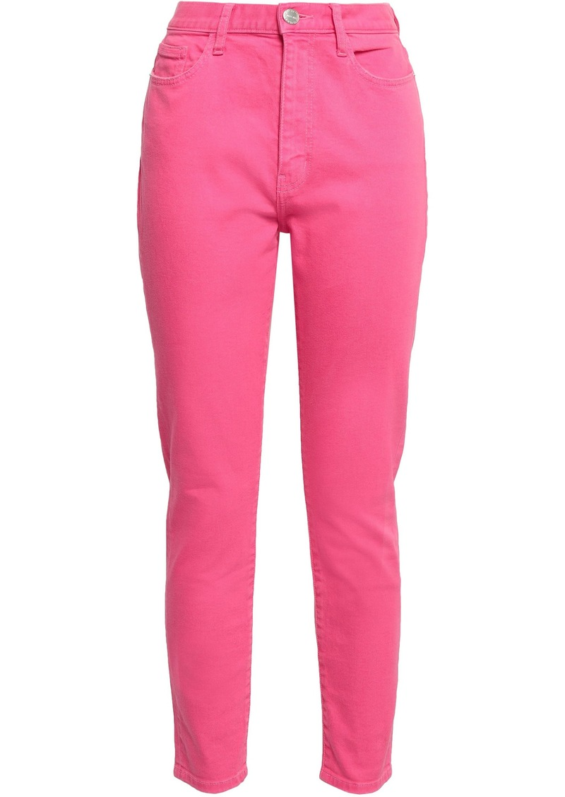 Current/elliott Woman The Ultra High Waist Cropped High-rise Skinny Jeans Bright Pink