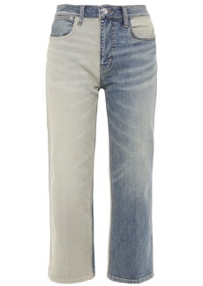 Current/elliott Woman The Vanessa Cropped Two-tone Mid-rise Straight-leg Jeans Mid Denim