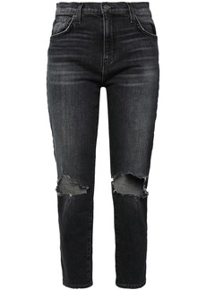 Current/elliott Woman The Vintage Cropped Distressed High-rise Slim-leg Jeans Charcoal