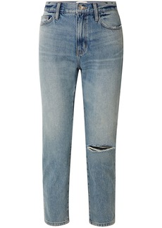 Current/elliott Woman The Vintage Cropped Distressed High-rise Slim-leg Jeans Light Denim