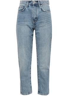 Current/elliott Woman The Vintage Cropped Distressed Printed High-rise Slim-leg Jeans Light Denim
