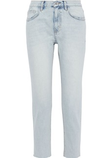 Current/elliott Woman The Vintage Cropped Faded Mid-rise Straight-leg Jeans Light Denim