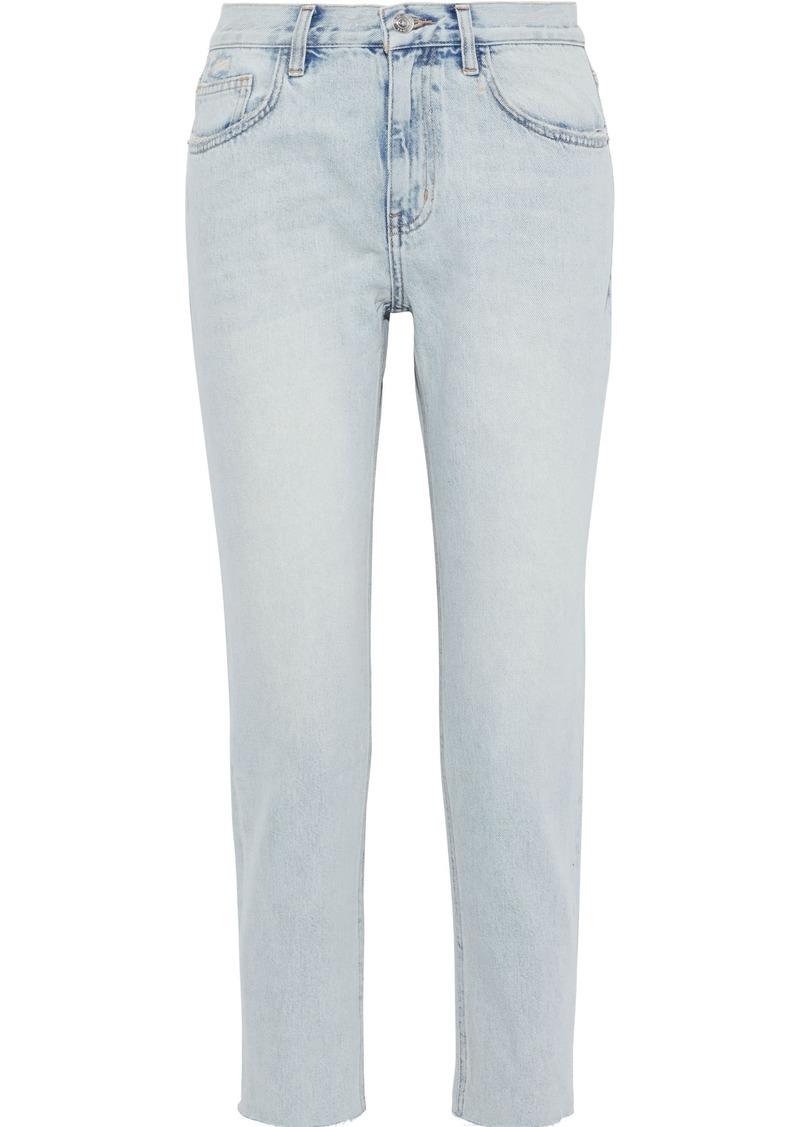 Current/elliott Woman The Vintage Cropped Faded Mid-rise Straight-leg Jeans Light Denim