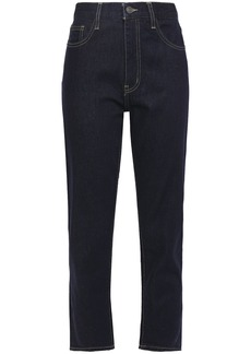 Current/elliott Woman The Vintage Cropped High-rise Slim-leg Jeans Dark Denim