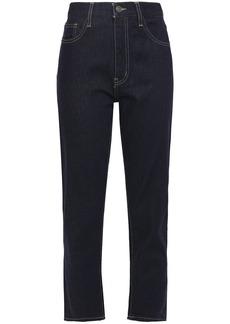Current/elliott Woman The Vintage Cropped High-rise Slim-leg Jeans Dark Denim