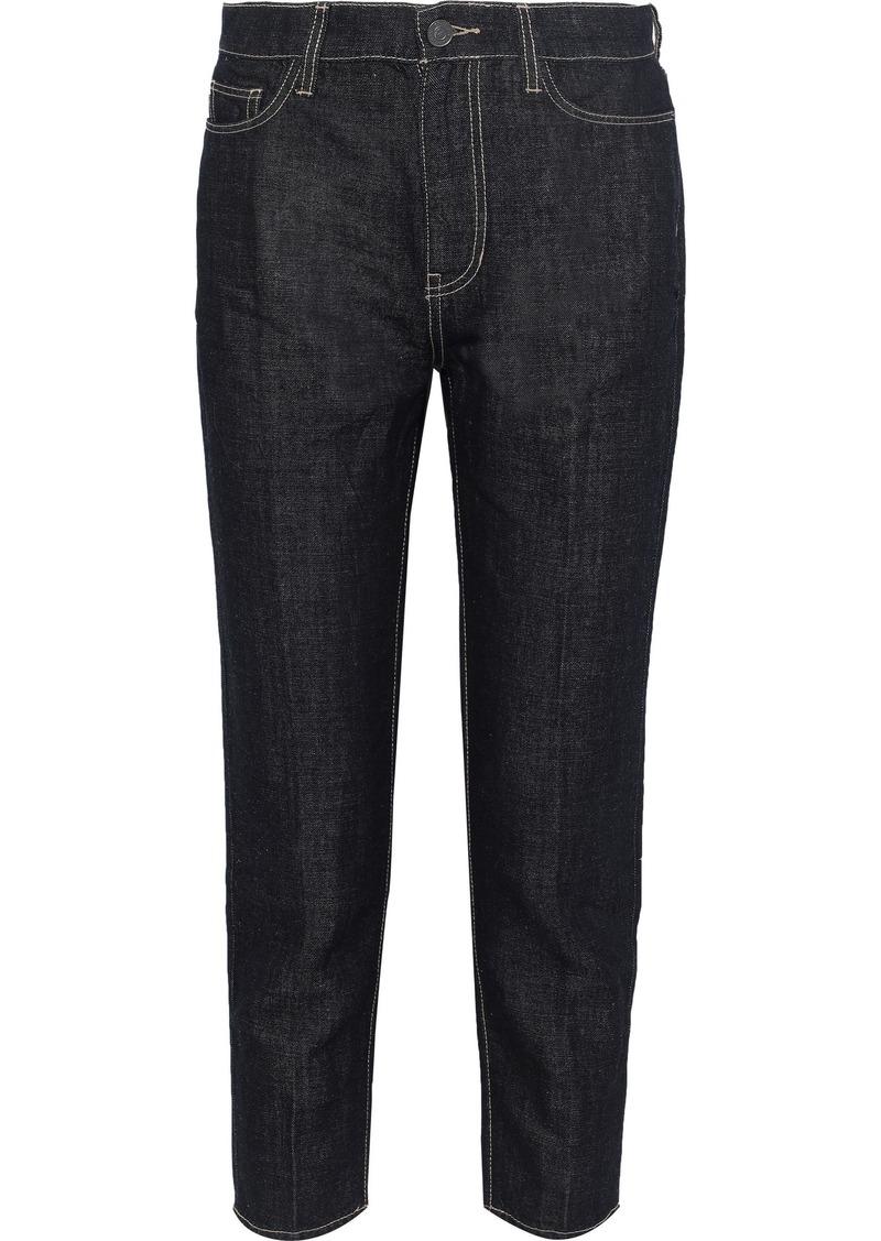 Current/elliott Woman The Vintage Cropped High-rise Straight-leg Jeans Dark Denim