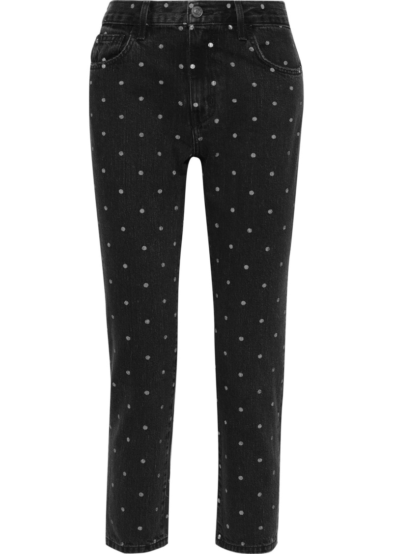 Current/elliott Woman The Vintage Cropped Polka-dot High-rise Straight-leg Jeans Black