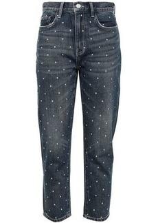 Current/elliott Woman The Vintage Cropped Studded High-rise Slim-leg Jeans Dark Denim