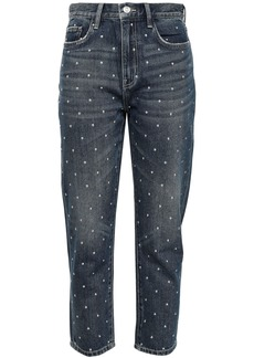 Current/elliott Woman The Vintage Cropped Studded High-rise Slim-leg Jeans Dark Denim