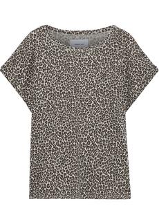 Current/elliott Woman The Vintage Leopard-print Slub Linen And Cotton-blend T-shirt Animal Print