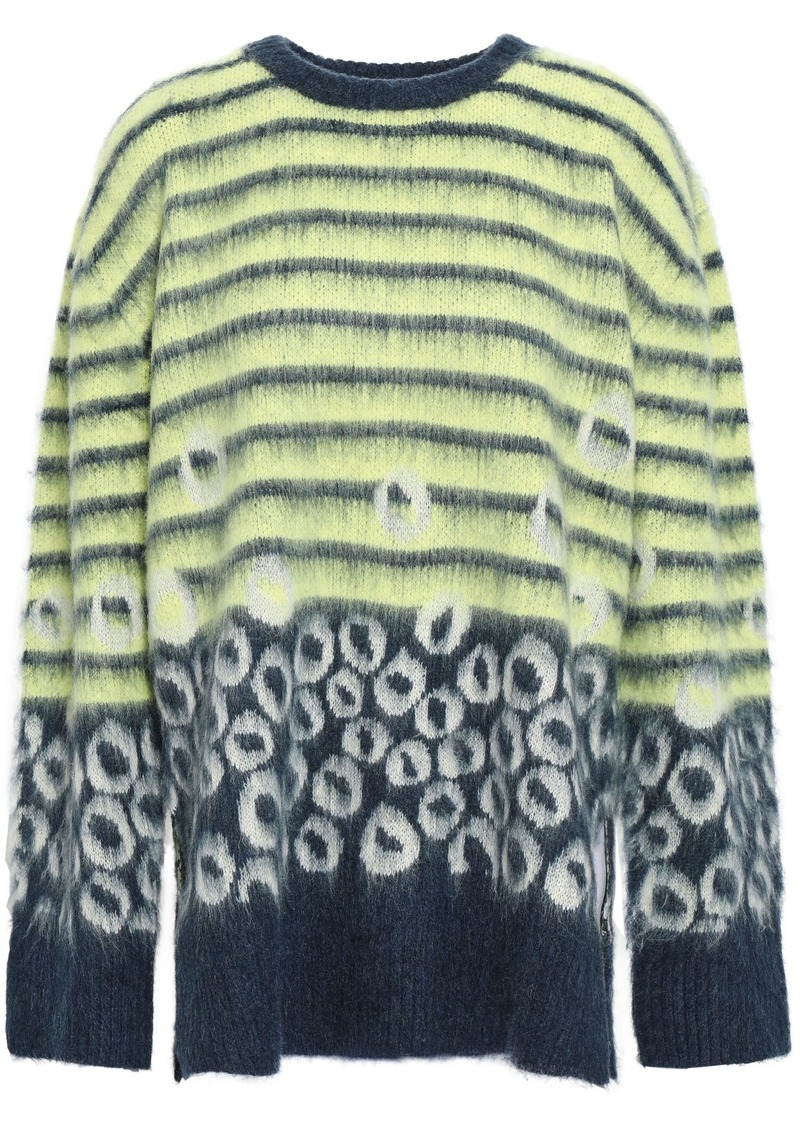 Current/elliott Woman The Wes Printed Brushed-knitted Sweater Lime Green