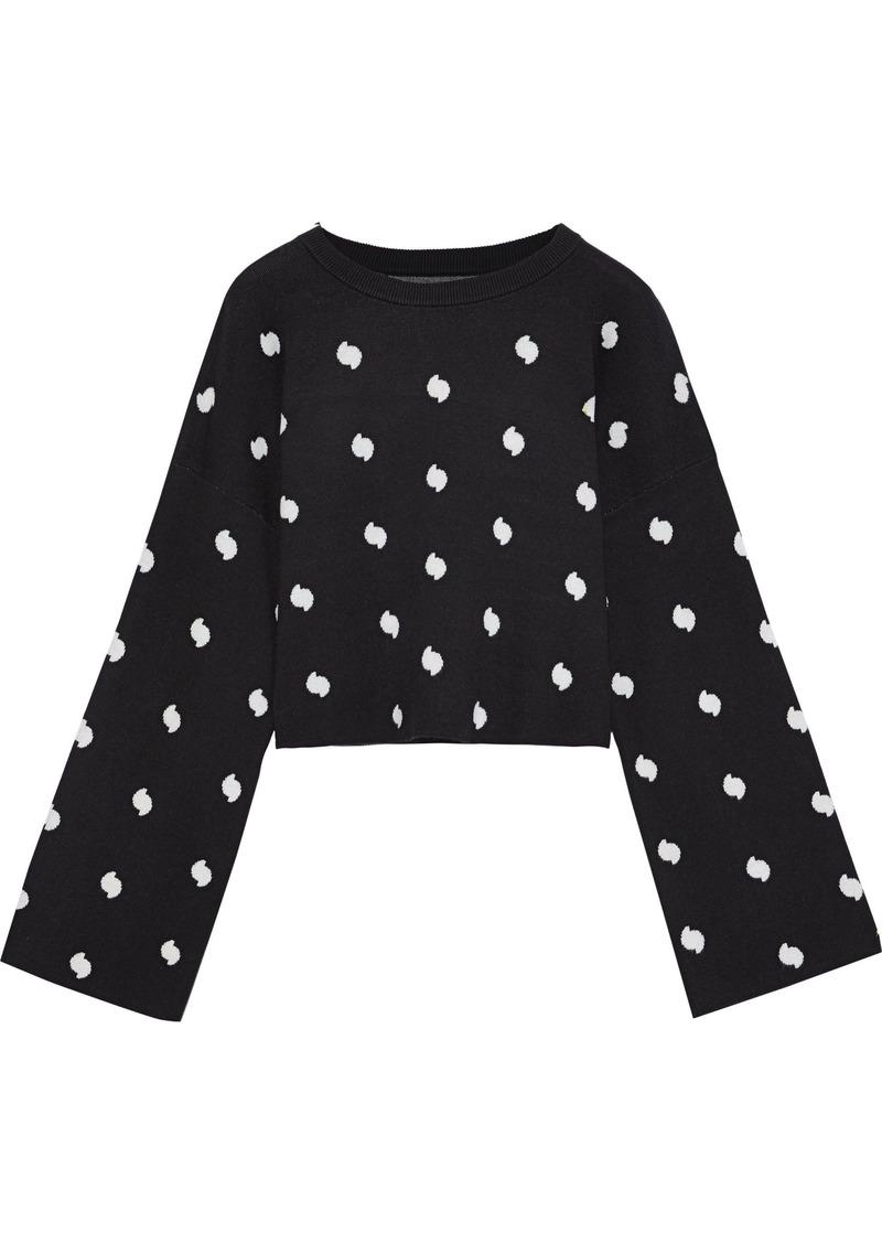 Current/elliott Woman The Weslan Cropped Jacquard-knit Sweater Black