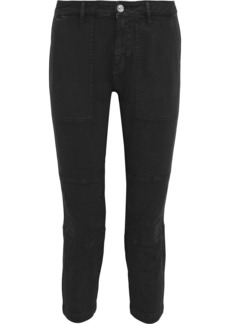 Current/elliott Woman The Weslan Cropped Lace-up Cotton-blend Twill Skinny Pants Black