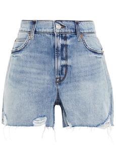 Current/elliott Woman The Wildes Aficionado Distressed Denim Shorts Mid Denim