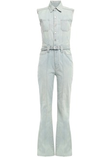 Current/elliott Woman The Zenith Belted Faded Denim Jumpsuit Light Denim