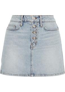 Current/elliott Woman The Zig-zag Studded Denim Mini Skirt Light Denim