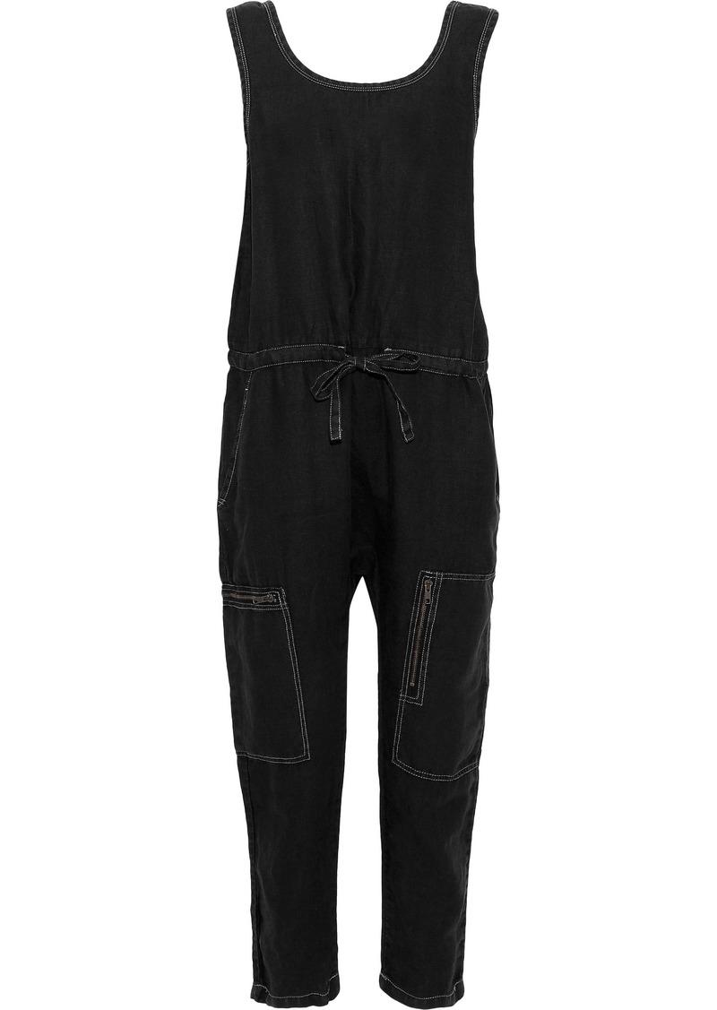 Current/elliott Woman The Zip Cargo Cropped Linen Jumpsuit Black