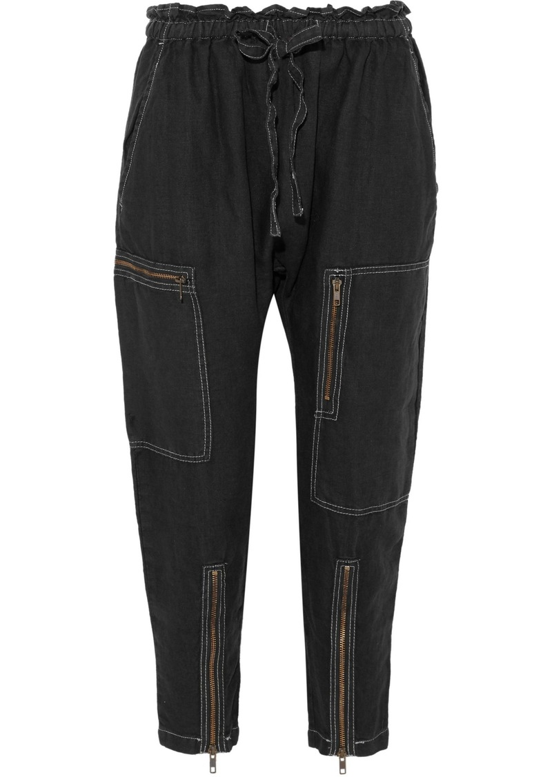 Current/elliott Woman The Zip Cargo Cropped Linen Tapered Pants Black