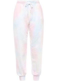 Current/elliott Woman Tie-dyed French Cotton-terry Track Pants Pastel Pink